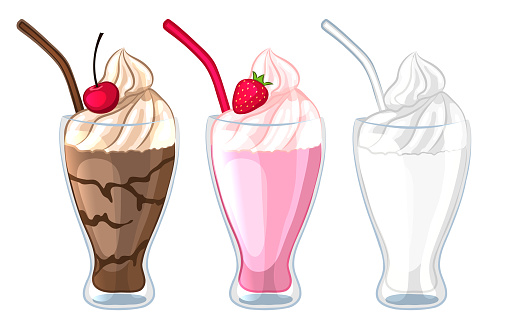 Set of different types of milkshakes. Milk, chocolate, strawberry cocktail. Isolated on a white background.