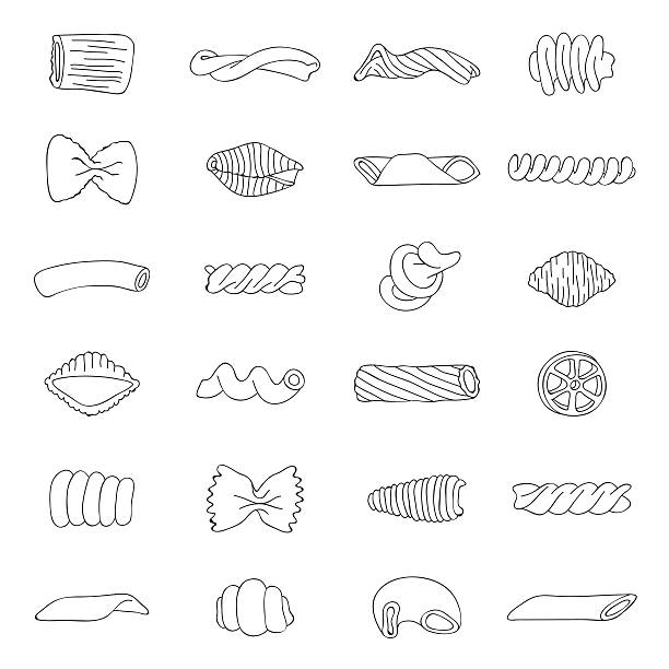 Set of different types of pasta Set of different types of pasta. Contour vector icons on white background. fusilli stock illustrations