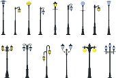 Set of different types of street lamps isolated on white background in flat style. Detailed illustration colored street lamps isolated in flat style on white background. Vector illustration