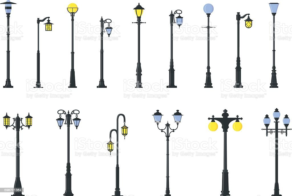 Set of different types of street lamps. Vector illustration. vector art illustration