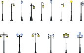 Set of different types of street lamps isolated on white background in flat style. Vector illustration. Detailed illustration colored street lamps isolated in flat style on white background.