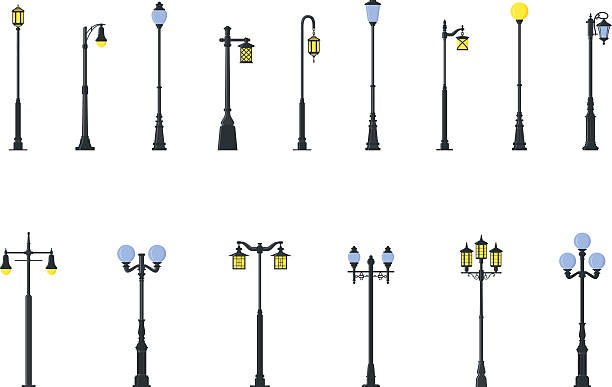 stockillustraties, clipart, cartoons en iconen met set of different types of street lamps. vector illustration. - straatlamp