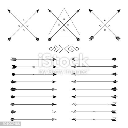 Big set of different vector arrows. Hipster arrows collection. Set of Indian style arrows. Arrow for all design. Indian elements, tribal elements, template. Traditional hunting weapon.