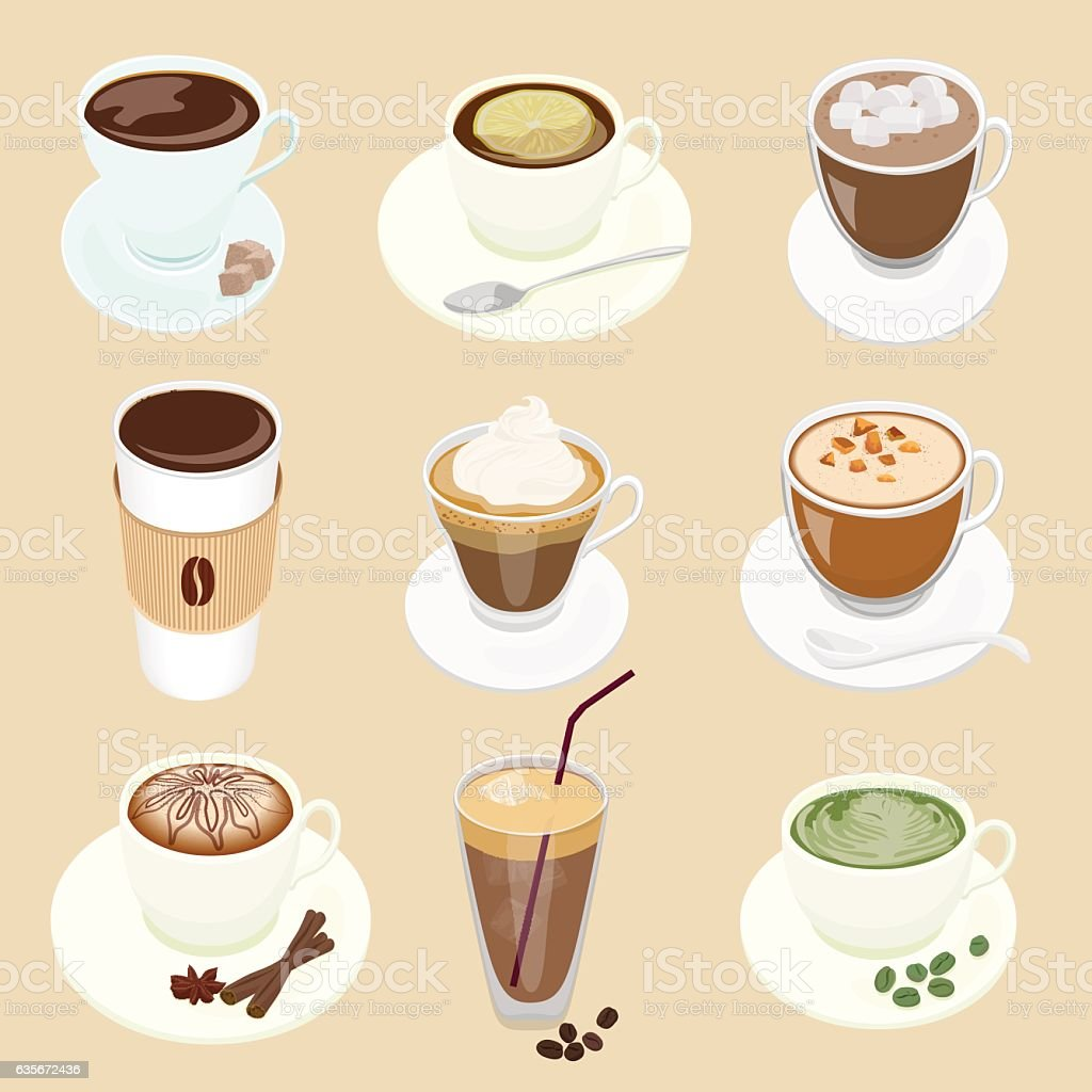 Set of different Vector Coffee cup and many kinds   for vector art illustration
