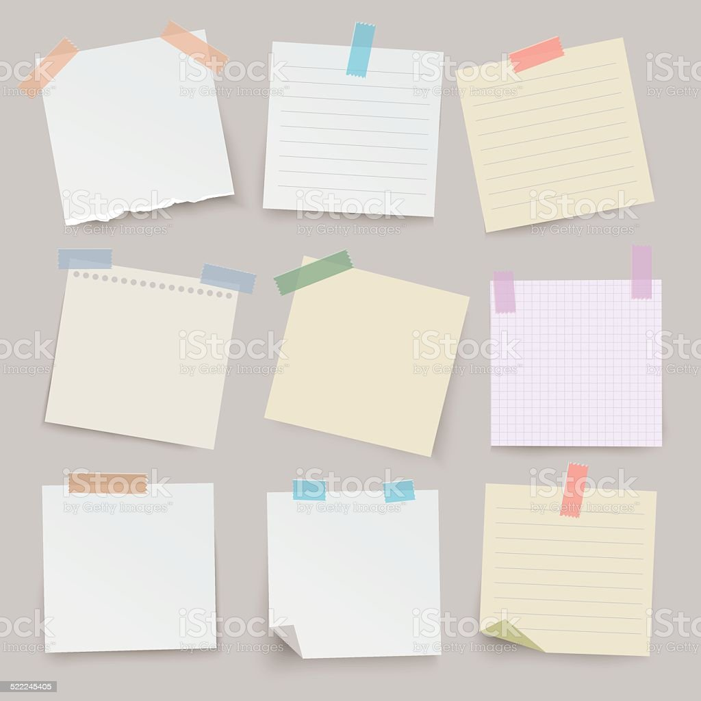 Set of different vector note papers.