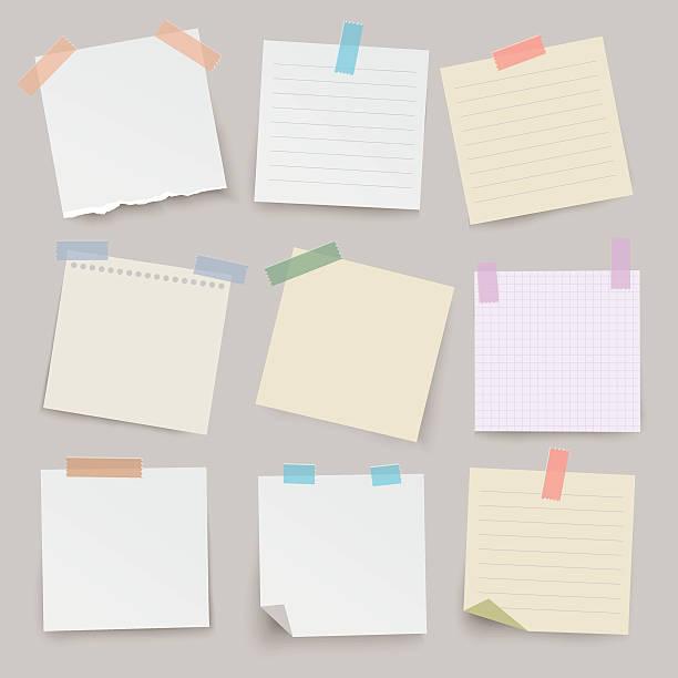zestaw różnych wektor uwaga techniczna. - notes stock illustrations