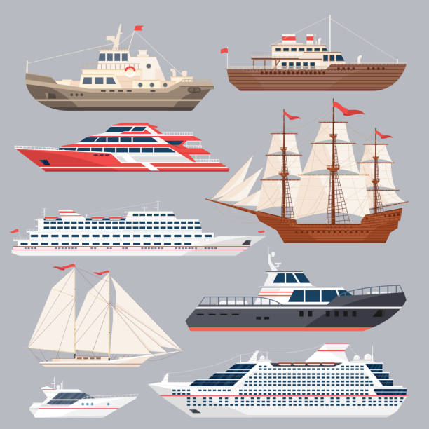 Set of different vessels. Sea boats and other big ships. Vector illustrations in flat style vector art illustration