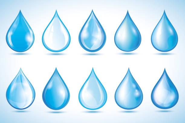 分離された異なる水滴のセット - 水滴点のイラスト素材/クリップアート素材/マンガ素材/アイコン素材