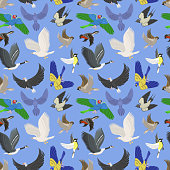 Set of different wing wild flying birds seamless pattern background.