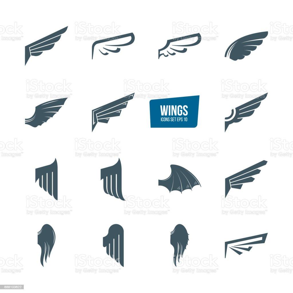 Conjunto de diferentes alas conjunto de iconos. Pájaro de ala de pluma de emblemas - ilustración de arte vectorial