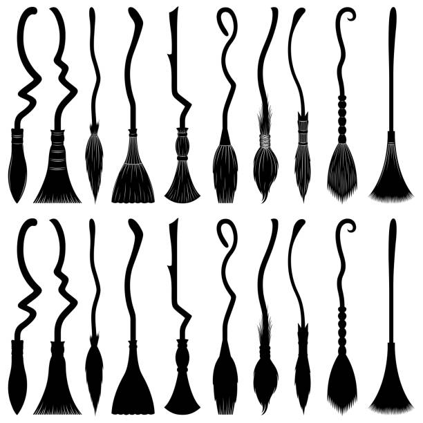 Set of different witch brooms vector art illustration