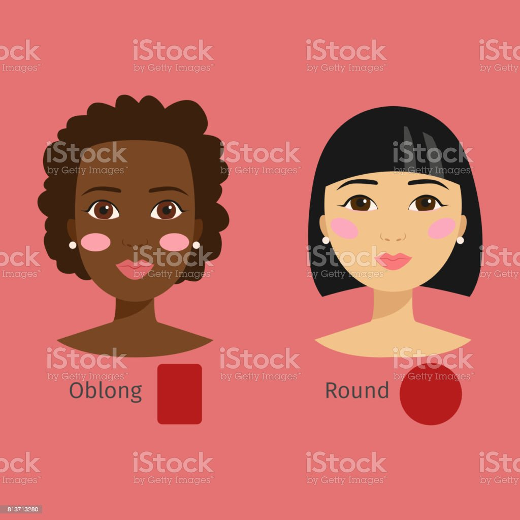 Set of different woman face types vector illustration character shapes girl makeup beautiful hair cosmetic cheeks female vector art illustration