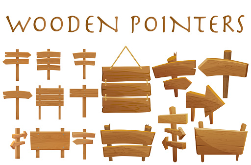 Set of different wooden empty cartoon pointers, hovering guides, signboards, signposts, planks, showing different destinations isolated flat vector illustration. clipart
