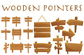 Set of different wooden empty cartoon pointers, hovering guides, signboards, signposts, planks, showing different destinations isolated flat vector illustration