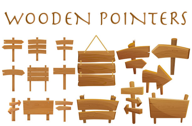 illustrazioni stock, clip art, cartoni animati e icone di tendenza di set of different wooden empty cartoon pointers, hovering guides, signboards, signposts, planks, showing different destinations isolated flat vector illustration. - manifesto