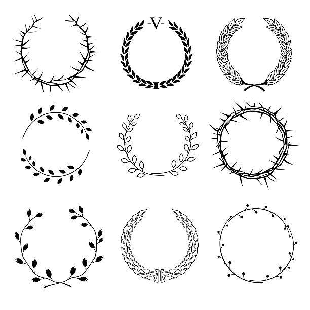 set of different wreaths - thorn stock illustrations