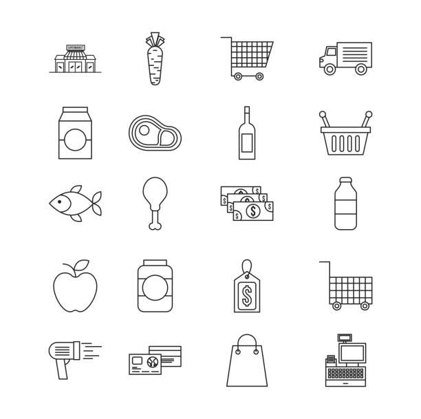 stockillustraties, clipart, cartoons en iconen met set van differents producten supermarkt eten drinken kar winkelmandje iconen - chicken bird in box