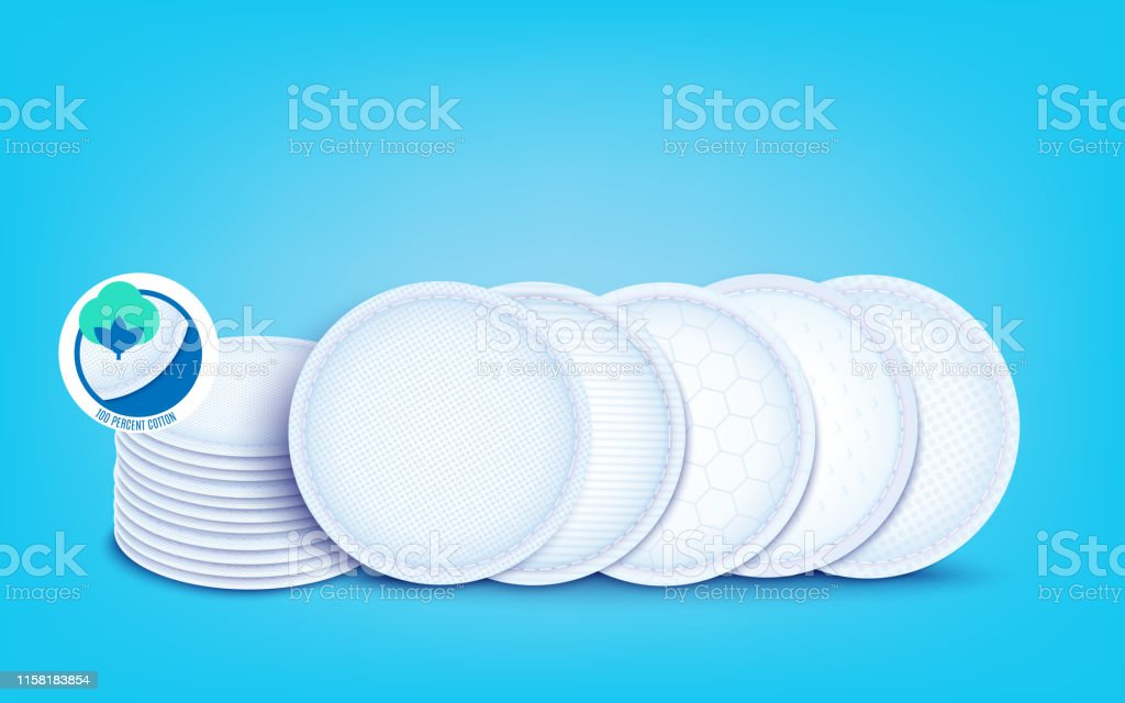 Set of diffrent cotton layers for cotton pads and disks, nursing pad...