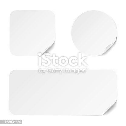 Set of different paper adhesive stickers with realistic textures isolated on white background. Blank templates for any purpose. Vector illustration.