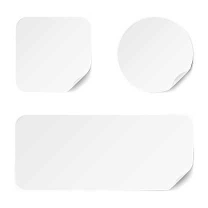 Set of diffrent paper adhesive stickers.