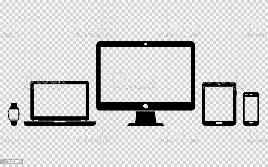 Reihe von digitalen Geräten icons – Vektorgrafik