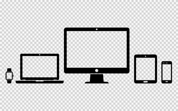 Set of digital devices icons Set of digital devices icons on transparent background desktop pc stock illustrations