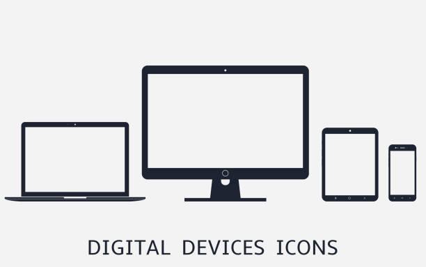 レスポンシブウェブデザインのデジタルデバイスアイコンベクトルイラストのセット - パソコン点のイラスト素材/クリップアート素材/マンガ素材/アイコン素材