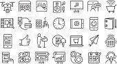 Vector illustration of a Set of digital icons  Flat Simple outline line art design Icon large set