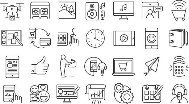 Set of digital icons  Flat Simple outline line art design Icon large set vector art illustration