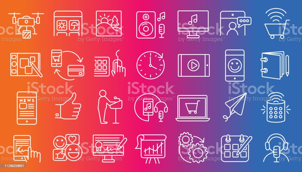 Set of digital icons  Flat Simple outline line art design Icon large set Vector illustration of a Set of digital icons  Flat Simple outline line art design Icon large set Art stock vector