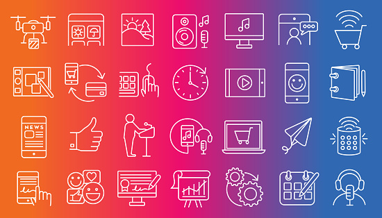 Set Of Digital Icons Flat Simple Outline Line Art Design Icon Large Set Stock Illustration - Download Image Now