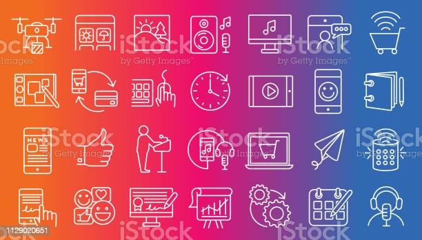 Ilustración de Conjunto De Iconos Digital Plana Simple Línea Arte Diseño Esquema Conjunto Grande De Iconos y más Vectores Libres de Derechos de Acontecimientos en las noticias
