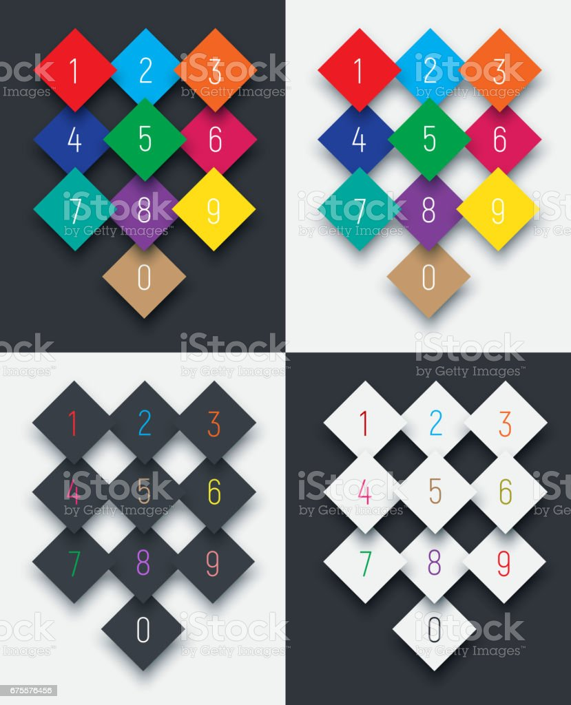 set of digits from 0 to 9 on a rhombus. set of digits from 0 to 9 on a rhombus - arte vetorial de stock e mais imagens de apontar - sinal manual royalty-free