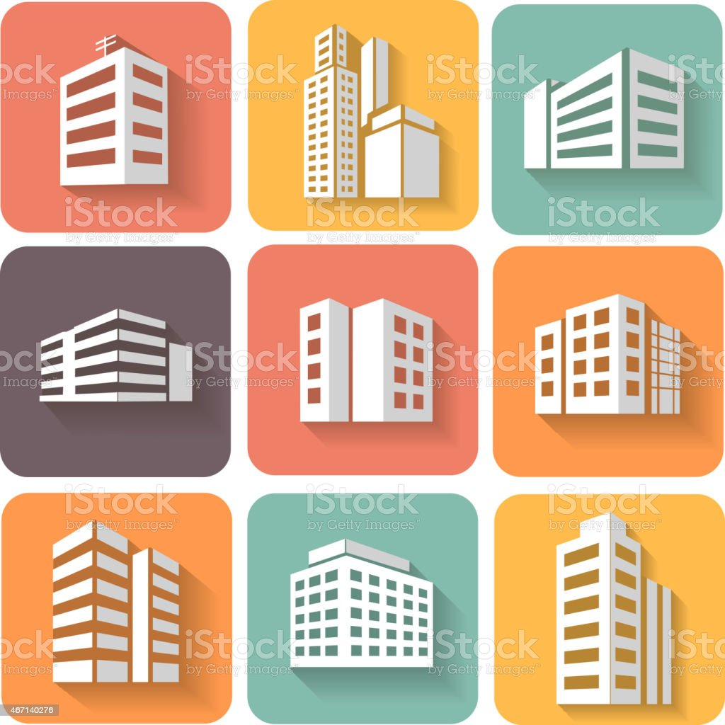 Set of dimensional buildings icons  with shadow vector art illustration