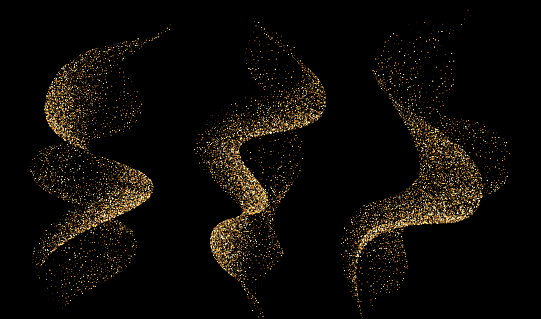 Set of dinamic golden waves smoke or flame with sparkling particle