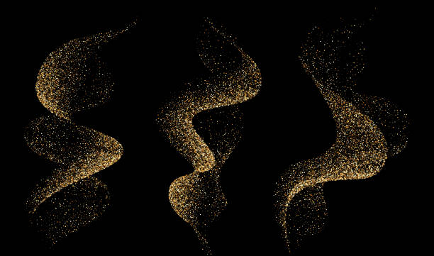 Set of dinamic golden waves smoke or flame with sparkling particle Set of dinamic golden waves smoke or flame with sparkling particle. Vector rotation elements scented stock illustrations