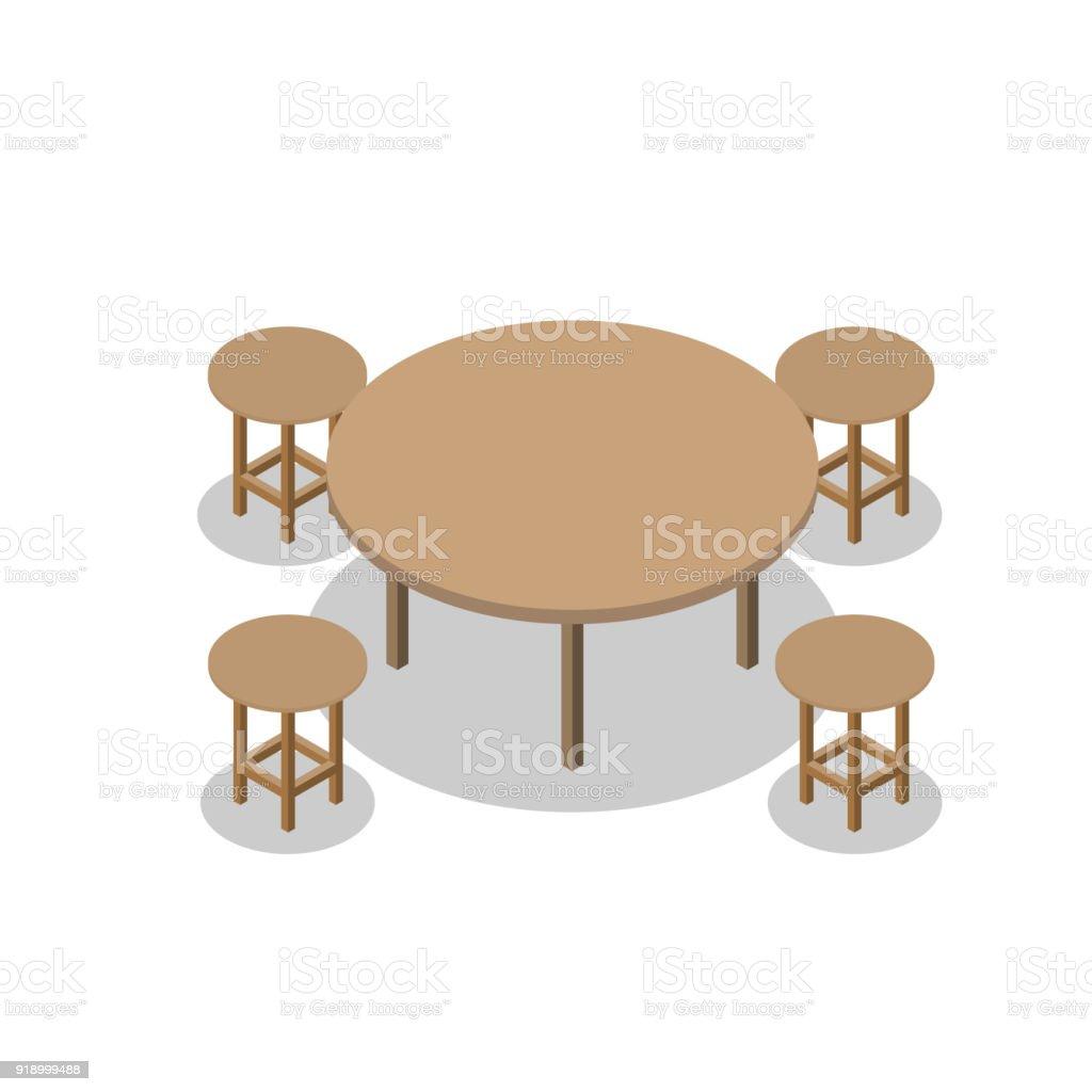 Ilustración de Conjunto De Comedor O Muebles De Madera De Café ...
