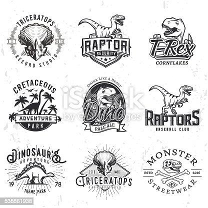Set of Dino Labels. T-rex skull t-shirt illustration concept on grunge background. Raptors sport team insignia design. Vintage Jurassic Period badge.