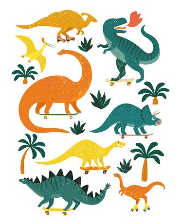 Set of dinosaurs including T-rex, Brontosaurus, Triceratops, Velociraptor, Pteranodon, Allosaurus, etc. Isolated on white.