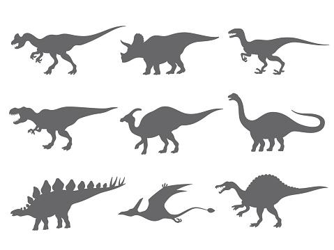 Set of dinosaurs silhouette