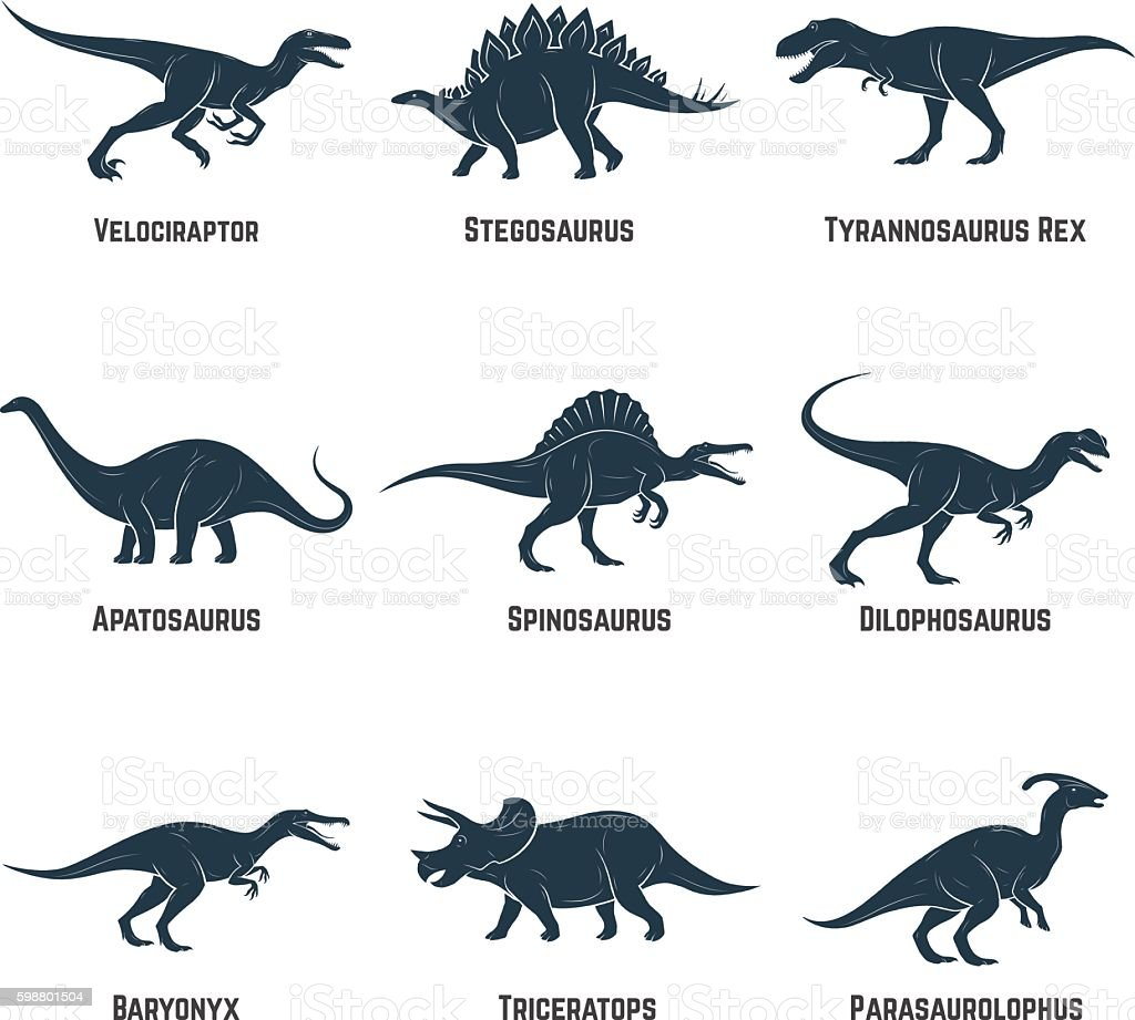 Set of dinosaurs vector icons, silhouettes, signs, emblems. vector art illustration