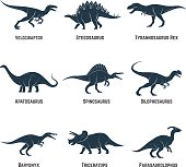 Set of dinosaurs vector icons, silhouettes, signs, emblems.