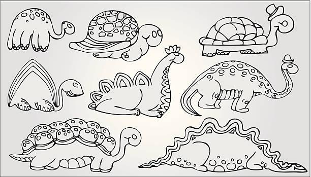 set of dinosaurs vector art illustration