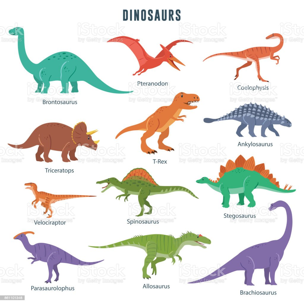 Conjunto de dinossauros - ilustração de arte em vetor