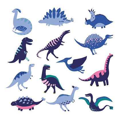 Set of Dinosaurus. Vector illustration in flat style. For poster, t-shirt, wallpaper, card.