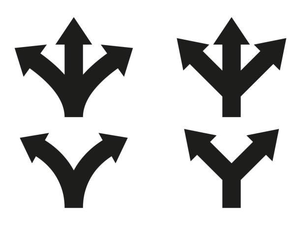 illustrazioni stock, clip art, cartoni animati e icone di tendenza di set of direction arrows. vector icons - separazione