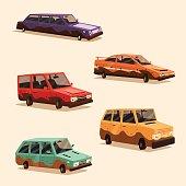 Set of dirty vintage american automobile. Cartoon vector illustration