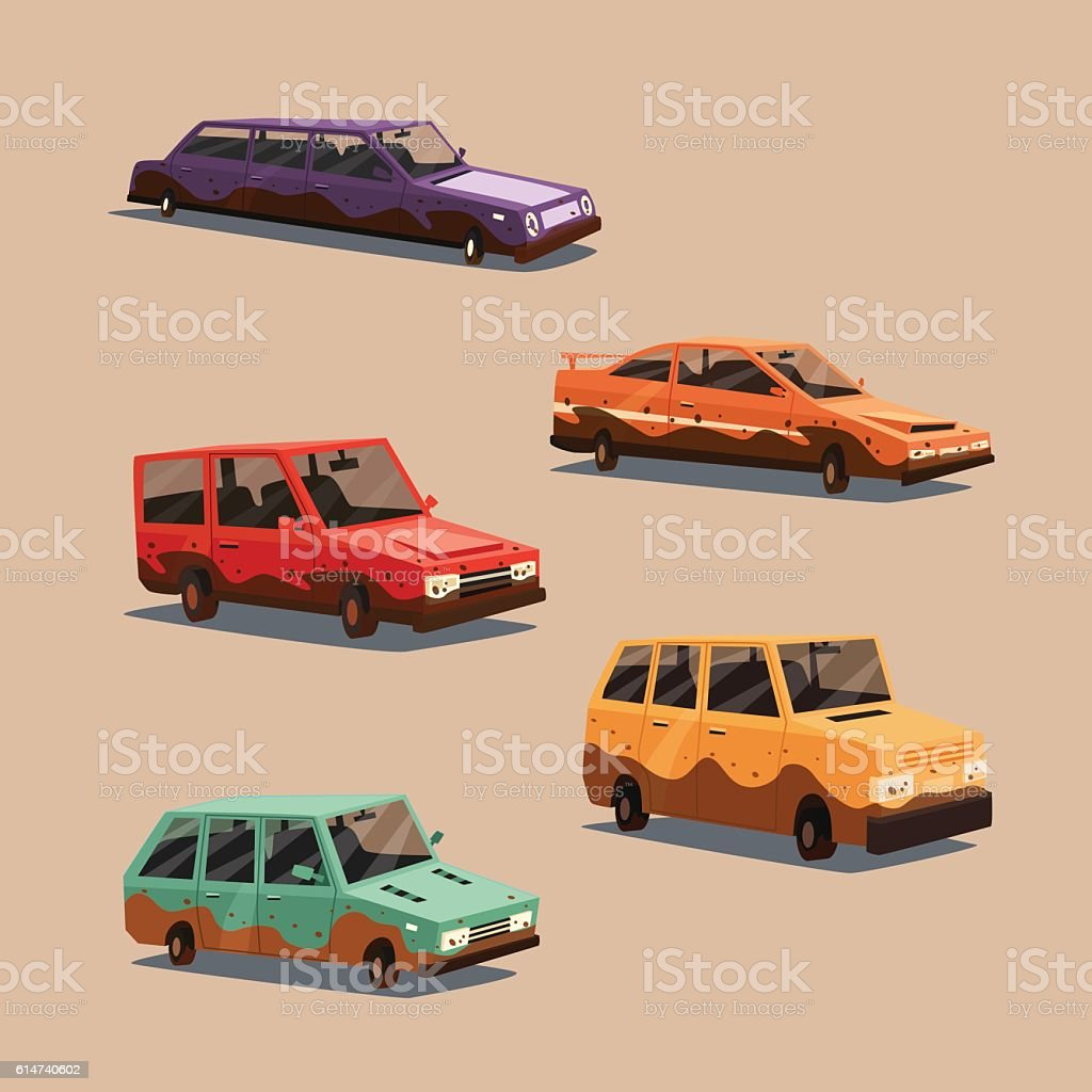 Set of dirty vintage american automobile. Cartoon vector illustration vector art illustration