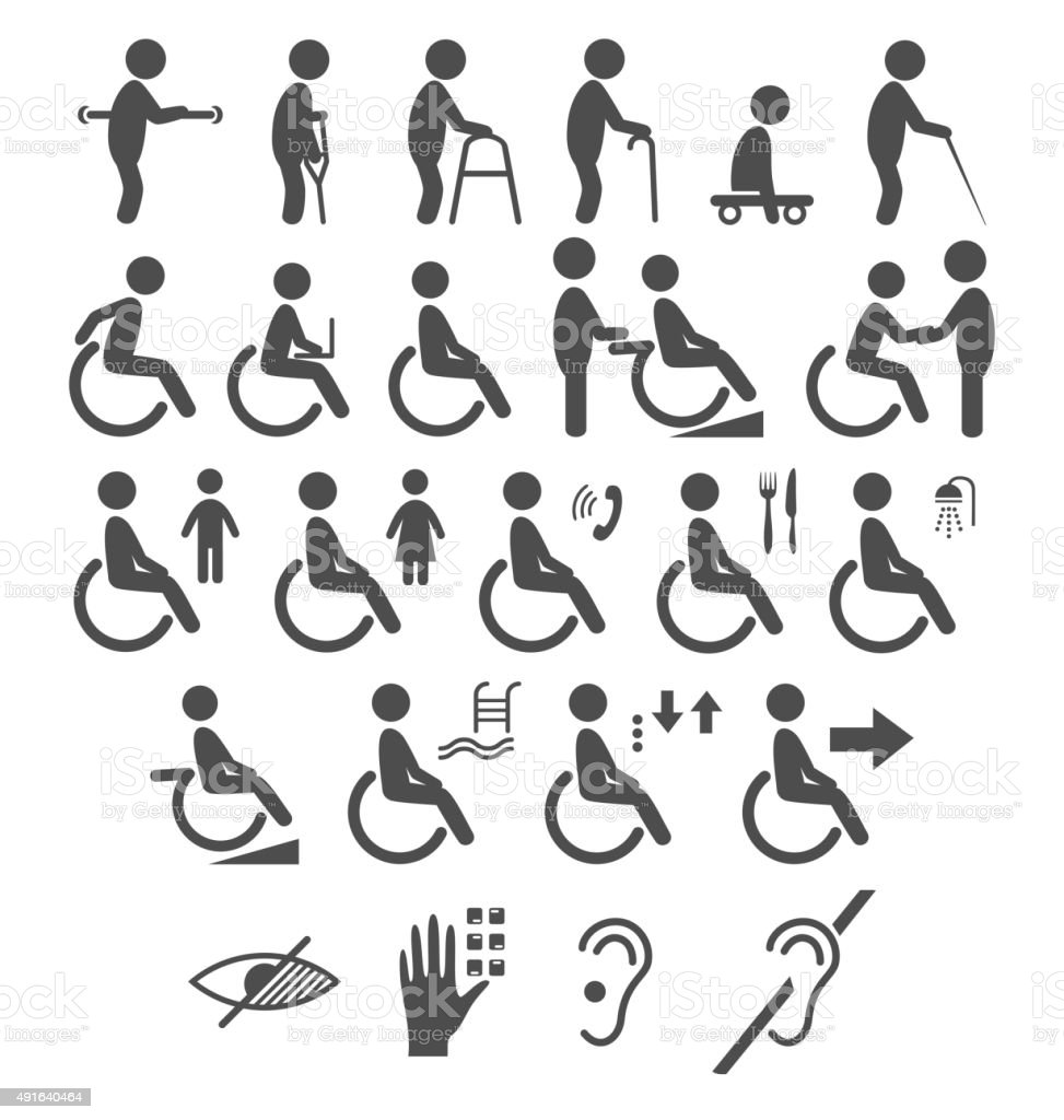 Set of disability people pictograms flat icons isolated on white vector art illustration