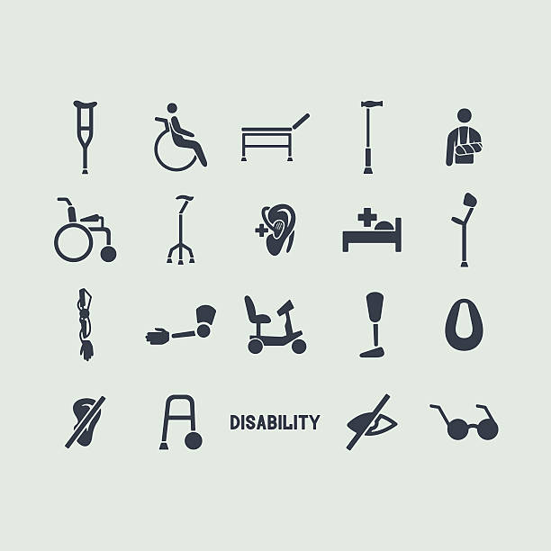 Set of disabled icons vector art illustration